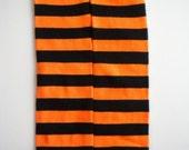 Bugga Baby Leg Warmers/Arm Warmers-Crawlers- Black and Orange Halloween Stripes-----FREE FREE FREE-----Boutique Flower Headband Included