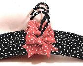 DIY Padded Hangers Black n White polka Dots  Red Bows