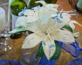Silver and white lilies wedding bouquet blue heart center, faux flowers, fresh alternative