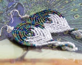 Mila - French beaded peacock feather earrings, sterling silver