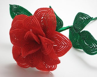 Sweetheart Red rose - French beaded flower - color of love, for your valentine, christmas, red