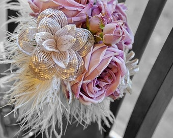 sweetheart pink rose bridal bouquet - French beaded flower bouquet with Crystal/Silk flowers and heavenly feathers