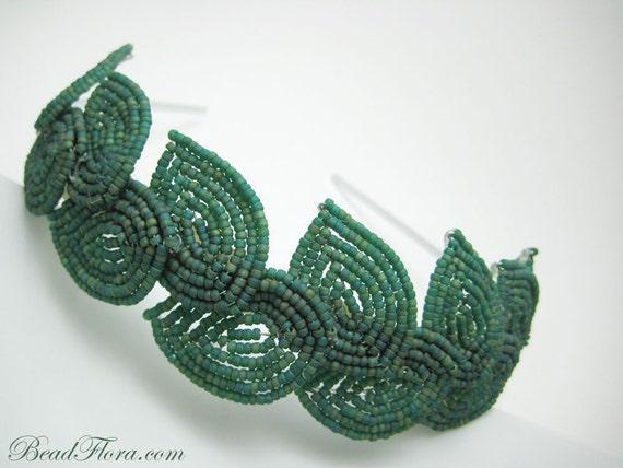 2012 MTV Movie Awards headband, Eurynome- Grecian goddess inspired hairband - peacock green beaded leaves hair band
