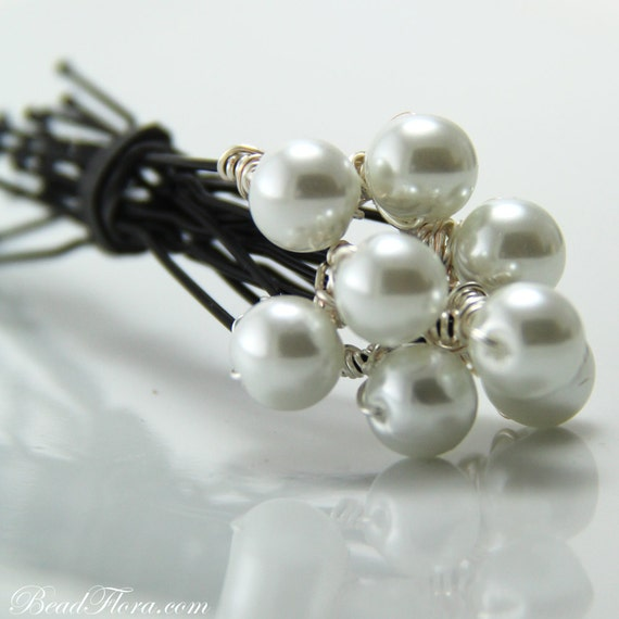 Pearl hair pins,8mm pearls - set of 8-- member of the artisan group