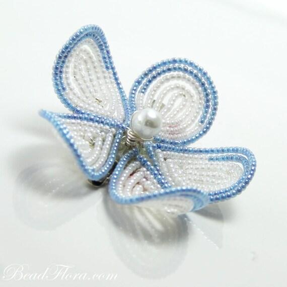 blue white beaded flower hair clip fascinator,  French beaded flower, hair clip or brooch pin