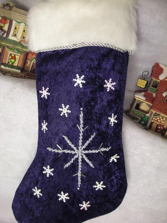 Elegant Blue Velvet Christmas Stocking By Bluewatergifts