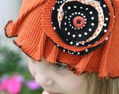 Pumpkin Bloom an upcycled hat for theTeam EtsyBABY Halloween Challenge and one of a kind