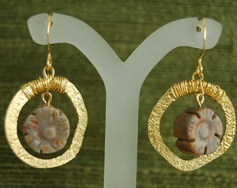 Golden Circles and Flowers Earings