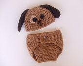 Crochet Puppy Hat and Diaper Cover, Size 3 to 6 Months, Ready to Ship