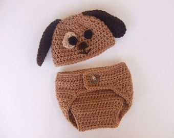 Crochet Puppy Hat and Diaper Cover, Size 0 to 3 Months, Ready to Ship
