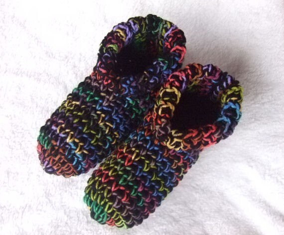 Crochet Womens Slippers, House Shoes, Cozy and Warm, Black Multi, Sizes 4-13,You Pick Size, Ready to Ship, Other Colors Available in My Shop