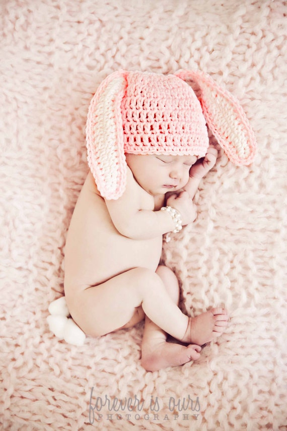 Crochet Baby Bunny Hat, Easter Bunny Baby Hat, Baby Boy, Baby Girl, You pick size and color, Photo Prop, READY TO SHIP