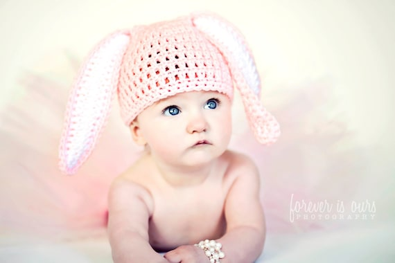 Crochet Easter Bunny Pink Baby Hat, Size 3-6 Months, Photo Prop, READY TO SHIP
