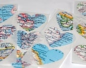 12 Recycled Map Heart Stickers/Seals