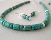 Turquoise Necklace and Earrings Set, Turquoise Gemstone and Sterling Silver