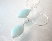 Amazonite Gemstone Earrings Marquis Drops Sterling Silver