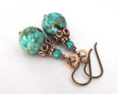 Mosaic Turquoise and Chrysocolla Earrings, Hypoallergenic Niobium Hooks