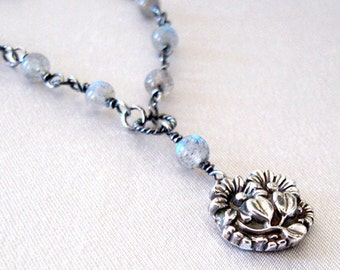 Fine Silver Pendant Necklace Daisy Flowers, Eco Friendly Silver, Labradorite Gemstone, One of a Kind Necklace