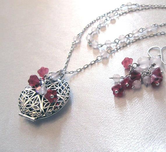 Filigree Locket Necklace Earrings Set, Rose Quartz Gemstone and Czech Glass Flowers