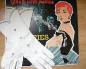 Vintage DAINTY Formal White Gloves with Rhinestones
