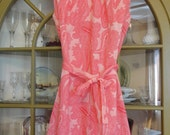 Vintage 1960's Shift Dress Pink Paisley Belted  Sz 10