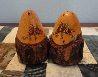 Vintage Souvenir Salt and Pepper Shakers Grand Canyon Cedar Wood