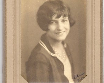 Vintage Portrait Young Woman with Lovely Smile Signed 'Always, Mary'