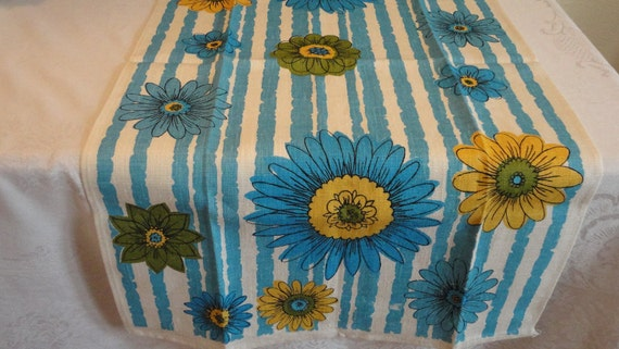 Vintage Linen Towel with Stripe and Daisies New