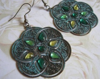 Round Verdigris Flower Dangle Earrings