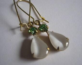 Vintage Pear Shaped White Moon and Round Peridot Swarovski Crystal Dangle Earrings
