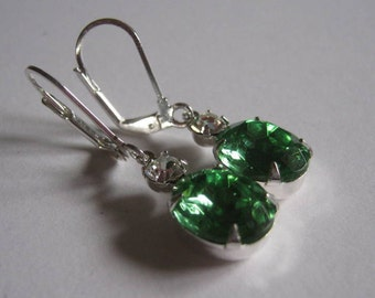 Peridot and Swarovski Crystal Rhinestone Dangle Earrings