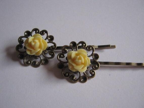 Pale Yellow Resin Rose Antique Bronze Filigree Hair Pins