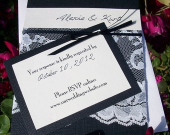 Lace Flat Card Wedding Invitations