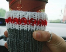 Work Sock Coffee Cozy Handknit Cup Cosy Take-Out Sleeve Stubbie Holder gift idea featured in Canadian House & Home Magazine - sock monkey