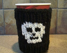 Skull and Crossbones Large Cup Cozy - Coffee Sleeve - Take-Out Sweater - great gift idea