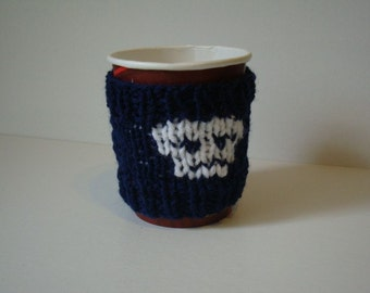Hand Knit Skull and Crossbones Cup Cozy Handknit Coffee Sleeve Knitted Take-Out Sweater Unisex Gift Mens Gift Womens Gift Skulls