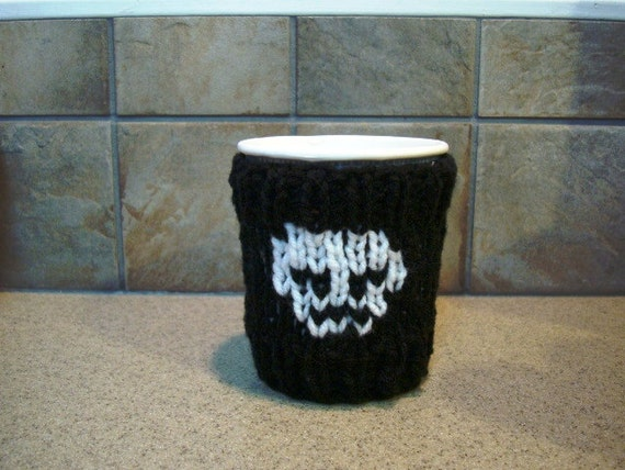 Skull and Crossbones Cup Cozy - Coffee Sleeve - Take-Out Sweater - great gift idea