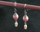 Handmade Beaded earrings from pink  vintage beads, white freshwater pearls FIVE DOLLAR SALE