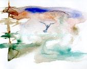 Watercolor Painting Bird Art, Bird Painting, Bird Watercolor, Seagull Painting, Ocean Art Print Titled In Flight