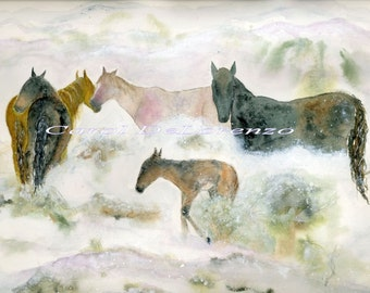 Watercolor Painting Horse Art, Horse Painting, Horse Watercolor, Horse Art Print,  Equine Art, Wild Horses, Print Titled Snow Mustangs