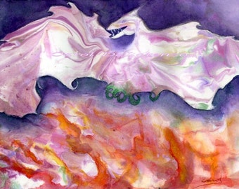 Watercolor Painting Dragon Art, Dragon Painting, Dragon Watercolor, Dragon Art Print, Fire Painting, Print Titled Dragon Fire