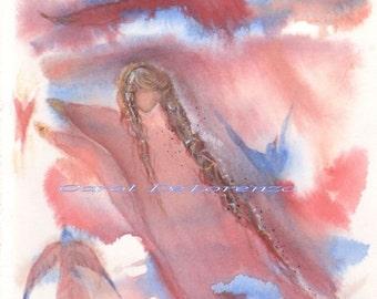 Watercolor Painting Angel Art, Angel Painting, Angel Watercolor, Angel Art Print, Spiritual Art, Bird Art Print Titled Bird Angel
