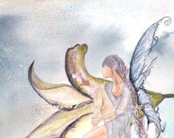 Watercolor Painting Fairy Art, Fairy Painting, Fairy Watercolor, Flower Painting, Fairy Art Print Titled Fairy Blossom, Portrait Orientation