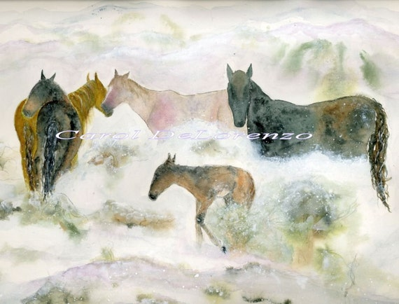Watercolor Painting 8x10 Horse Art, Horse Painting, Horse Watercolor, Horse Art Print,  Equine Art, Wild Horses, Print Titled Snow Mustangs
