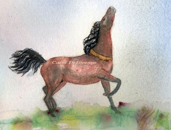 Watercolor Painting Horse Art, Horse Painting, Horse Watercolor, Equine Art, Arabian Horse, Horse Art Print Titled High Spirit