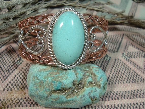 Turquoise Sterling Silver Filigree and Copper Cuff Bracelet