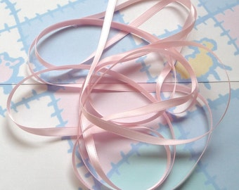 LIGHT PINK DOUBLE Faced Satin Ribbon, Polyester 1/4 inch wide, 5 Yards