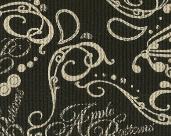 Apple Bottoms FLOURISH PAISLEY on Black, Cotton Thermal Waffle Knit Fabric, FQ 18x 28 inches