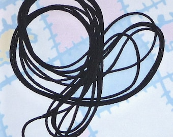 BLACK WOVEN Cotton CORD 5 Yards, 1/8 inch thick