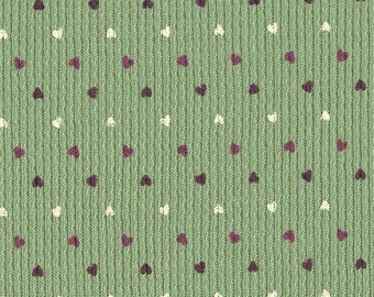 Mini Hearts on Sage Green, Cotton Thermal Waffle Knit Fabric, FQ 18x21 inches
